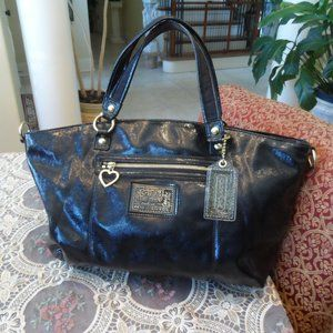 Coach Black Patent Leather Large Carryall Bag